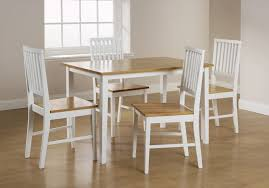 simple white wood dining tables with oak wood tabletop and nice wooden flooring for mission style