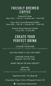 starbucks coffee menu. Interesting Menu Menu Of The Starbucks Coffee To E