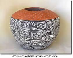 Navajo pottery designs Pueblo Person Acoma Pot With Fine Intricate Design Work Kachina House Pottery Southwest Collectibles Desertusa