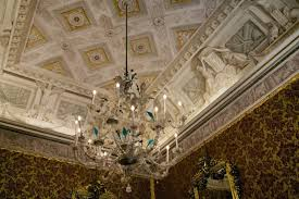 murano glass chandelier and ornate ceiling lombardy venetia throne room museo correr venice italy