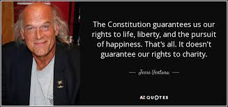 Jesse Ventura Quote The Constitution Guarantees Us Our Rights To Gorgeous Life Liberty And The Pursuit Of Happiness Quote