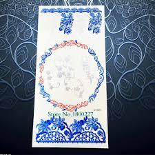 синий цвета золотистый серебристый венок временные татуировки хной цветок
