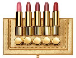 estee lauder professional pure color lipstick is a lovely gold gift set with five full size lipsticks in pink parfait bois de rose nectarine rose tea