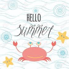 こんにちは夏の引用海の波カニ星貝殻をレタリングの手