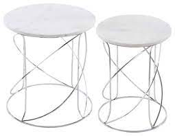 nested white marble tables with modern