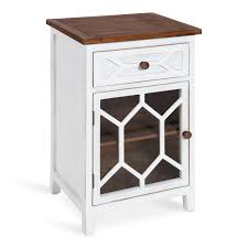 kate and laurel pearlind shabby chic wood side table with drawer and front glass door rustic white and brown com