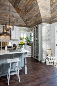 grey shiplap walls farmhouse kitchen with whitewashed brick wall reclaimed wood and island kids room wallpaper