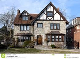 Suburban Tudor Style House Stock Photo Image Of Brick 4836890