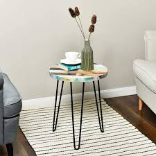 What coffee table do you want: Reclaimed Wood Round Side Table Plant Stand Accent Table Wellandstore