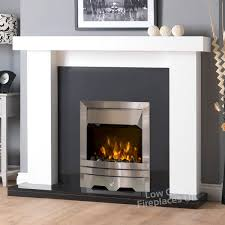 kensington electric fireplace suite in white with black granite eko fire