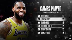 """NBA on Twitter: """"Congrats to @KingJames of the @Lakers for moving into sole  possession of 2nd on the all-time Christmas Day games played list! #NBAXmas  #LakeShow… https://t.co/BE3S1Z4MCV"""""""