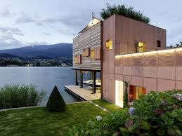 Architecture:Elegant Container Homes Architecture For Modern Lake House  Using Brown Wooden Exterior Wall Ultra