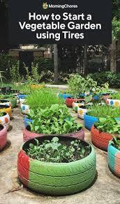 vegetable garden using old tires