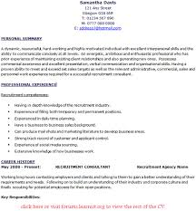 Recruitment Cv Recruitment Consultant Cv Example Learnist Org