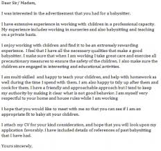Babysitter Cover Letter Example How To Write A Babysitter Cover