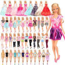 Thời Trang 16 Món/Bộ = 5 Búp Bê + 3 Bikini Đồ Bơi + 3 Áo Dài + 5 Búp Bê phụ  Kiện Quần Áo Cho Búp Bê Barbie Tự Làm Quà Tặng Sinh Nhật|Dolls Accessories