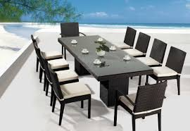 contemporary patio design with  people outdoor dining set and