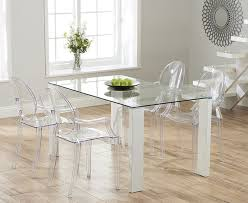 lavina 150cm gl and white high gloss dining table with philippe starck style ghost chairs