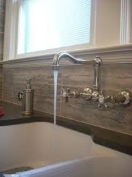 wall mount faucet. A Wall Mount Traditional Style Faucet Looks Great With White Fireclay Farmhouse Sink In The #kitchen.