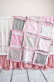 Baby Girl Crib Set, Pink Crib Bedding, Flower Rag Quilt Nursery ... & Baby Girl Crib Bedding - Simply Precious - Gray and Baby Pink Nursery Adamdwight.com