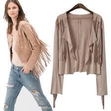 2016new fall women suede fringe cardigan jacket long sleeve boho coat european streetwear tassel outwear crop outfit womens jacket biker leather jacket from