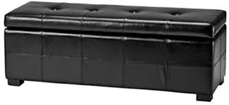 Safavieh Hudson Collection NoHo Tufted <b>Black</b> Leather <b>Large</b> ...