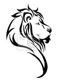 Obraz Silueta Lva Boční Hlava Kmenové Tetování Vektor Bílá Izolované