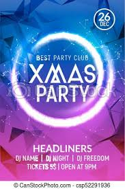 Christmas New Year Party Poster Banner Template Holiday Celebration Card Design Xmas Flyer Party Template