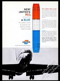 Details About 1964 United Airlines Plane Photo Red 1st Class White Blue Seating Chart Print Ad