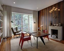 Office curtain ideas Eclectic Panel Curtain Ideas With Concrete Desk Accessories Home Office Midcentury And Midcentury Omniwearhapticscom Panel Curtain Ideas With Accent Wall Home Office Midcentury And Red