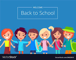 Welcome Back To School Banner With Kids