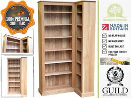 Oak Corner Shelving Solid Oak 100cm Tall L Shaped Corner Bookcase Unit OCBL100 made 53