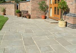 patio slabs. Courtyard Paving (Old Grey). Stonecraft_courtyard_old_grey_lifestyle Patio Slabs Madingley Mulch
