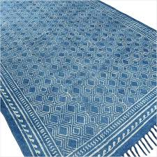 marvelous flat woven rugs indigo blue cotton block print area accent rug hand woven flat weave