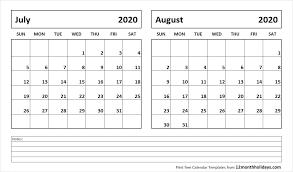 July And August 2020 Calendar Printable Calendar Template