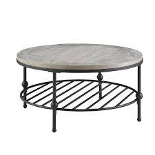 emerald round wood black metal coffee table