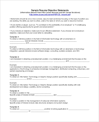 Sample Resume Objectives Statements Sample Objective Statement For Resume 9 Examples In Pdf