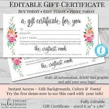 Blank Voucher Template Editable Gift Certificate Template Diy Gift Certificate Store Voucher Printable Gift Cert Gift Certificate Blank Certificate Diy