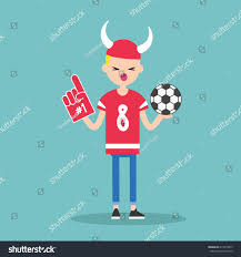 football fan clipart. young football fan wearing horned hat and foam finger / flat editable vector illustration, clip clipart i