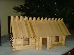 picture of lincoln sticks popsicle stick log cabins