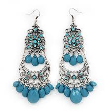 long blue bead diamante chandelier earring in silver plating 10 5cm drop