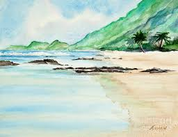beach painting secluded tropical beach watercolor by mice wiarda constantine