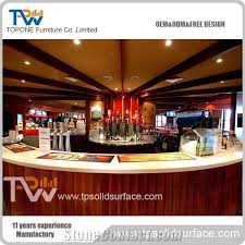 half round wooden restaurant bar counter with artificial marble stone bar table tops for