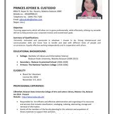 Sample Resume Sample Resume Format For Fresh Graduates Single Page Stupendous Of 12