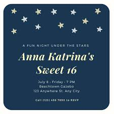 Stars Invitation Template Blue Under The Stars Birthday Invitation Templates By Canva