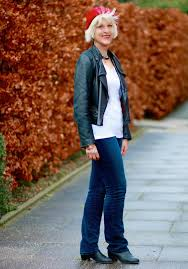biker jacket with white t shirt