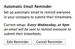 automatic timesheet automatic reminder for submitting timesheet harvest