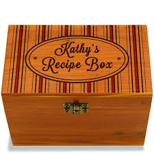 hat box engraved kitchen recipe cedar personalized custom wood collection card