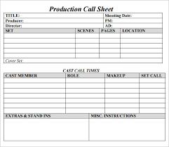Customer Call Sheet Template 8 Sample Call Sheet Templates Free Sample Example Format