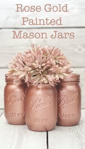 rose gold painted mason jar decor for weddings parties or your home